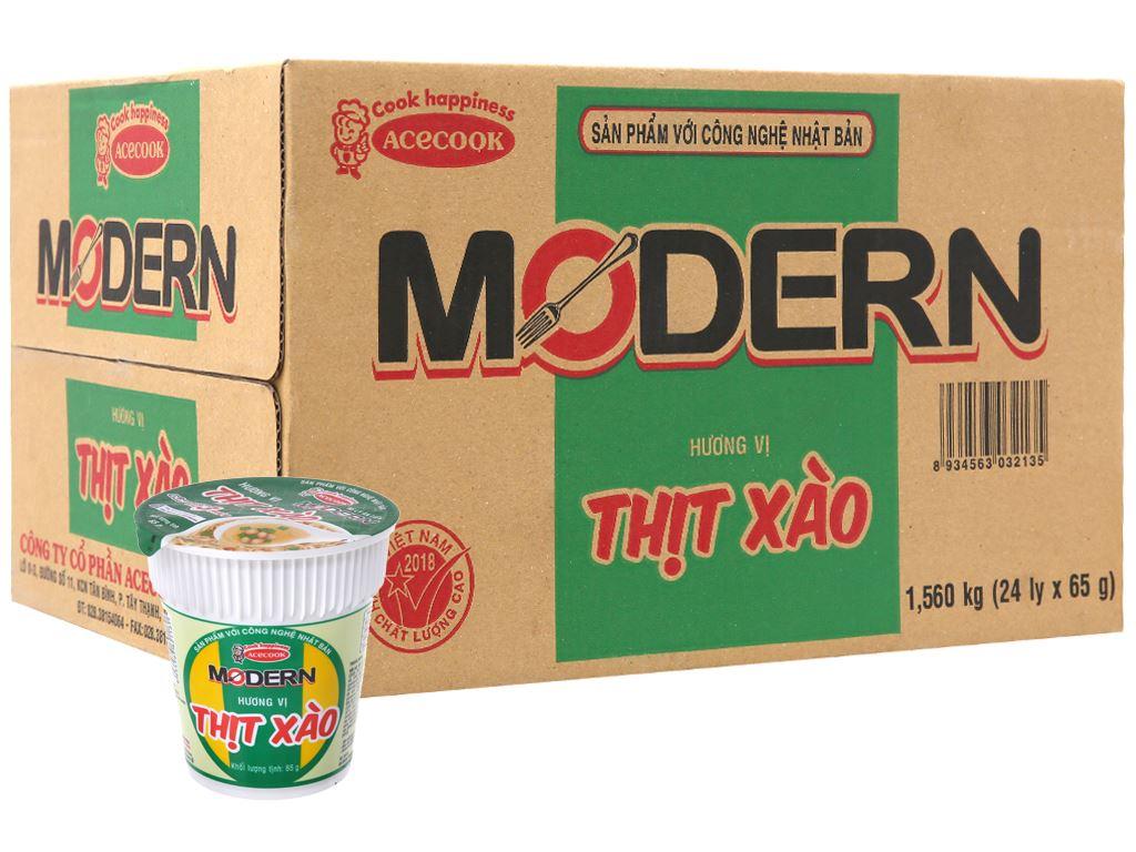 Thùng 24 ly mì Modern thịt xào 65g 2