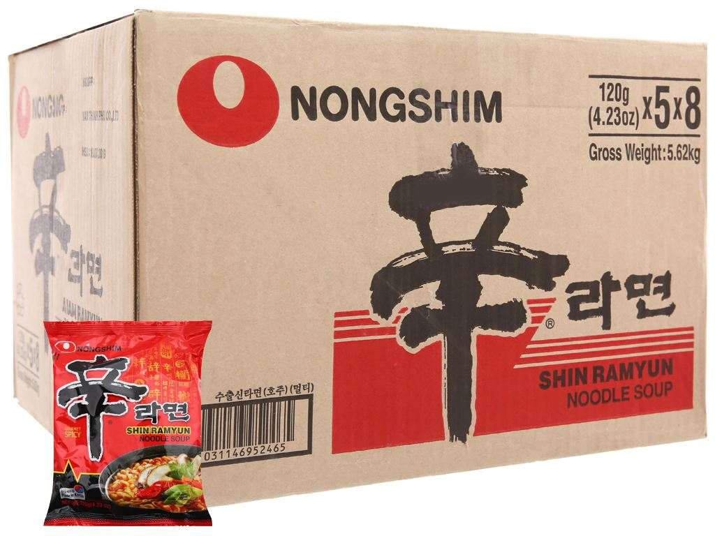 Thùng 40 gói Mì Nongshim Shin Ramyun cay 120g 2
