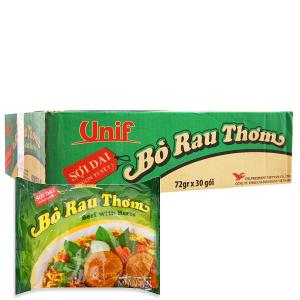 Thùng 30 gói mì Unif bò rau thơm 72g
