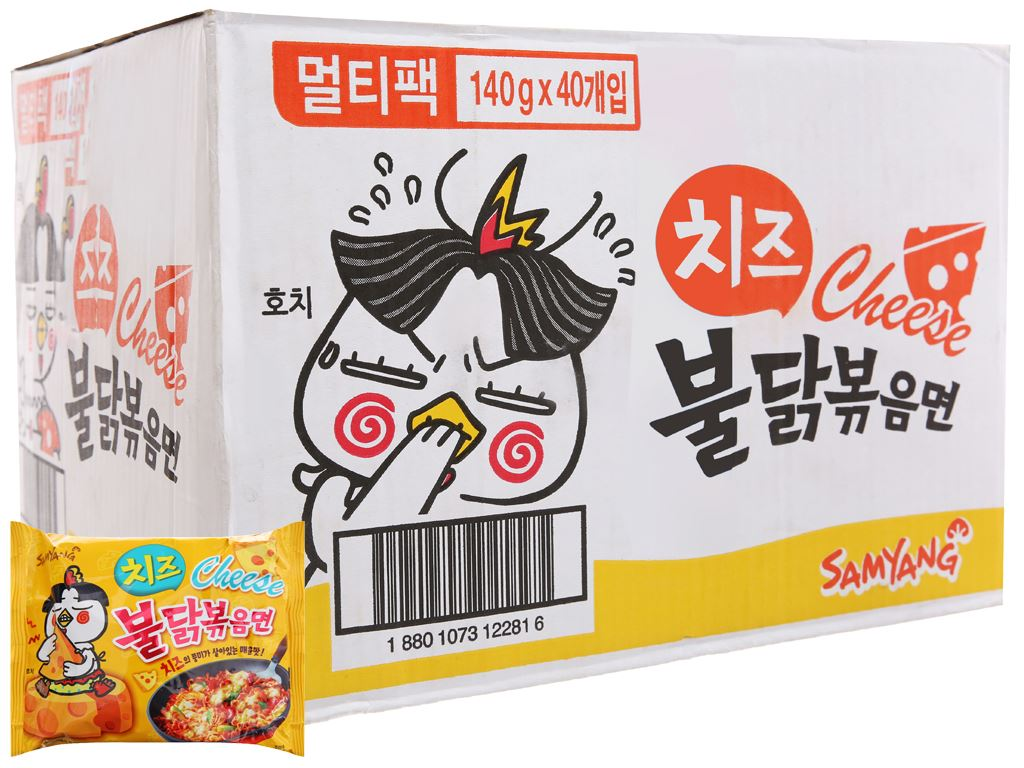 Thùng 40 gói mì khô gà cay Samyang vị phô mai 140g 1