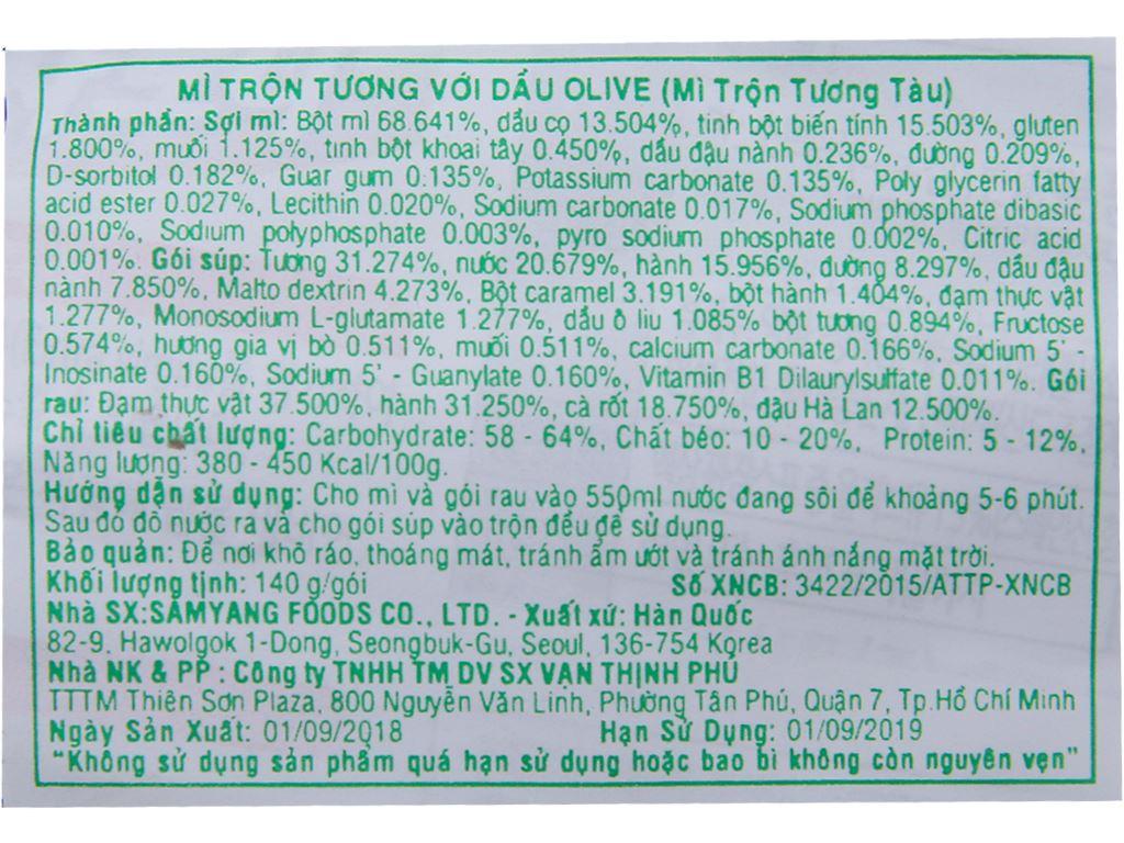 Thùng 40 gói mì trộn Samyang dầu olive tương tàu 140g 3