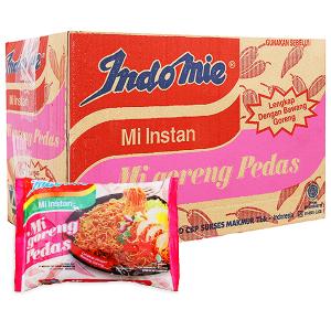 Thùng 40 gói mì xào khô Indomie Mi Goreng Pedas vị cay nồng 79g