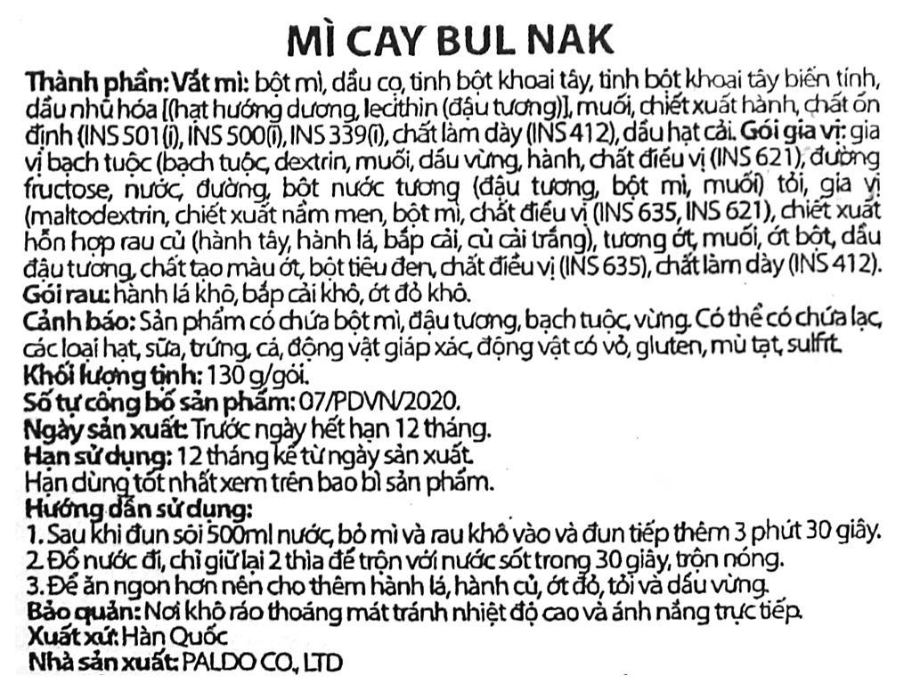 Mì xào khô Paldo Bul Nak cay gói 130g 3