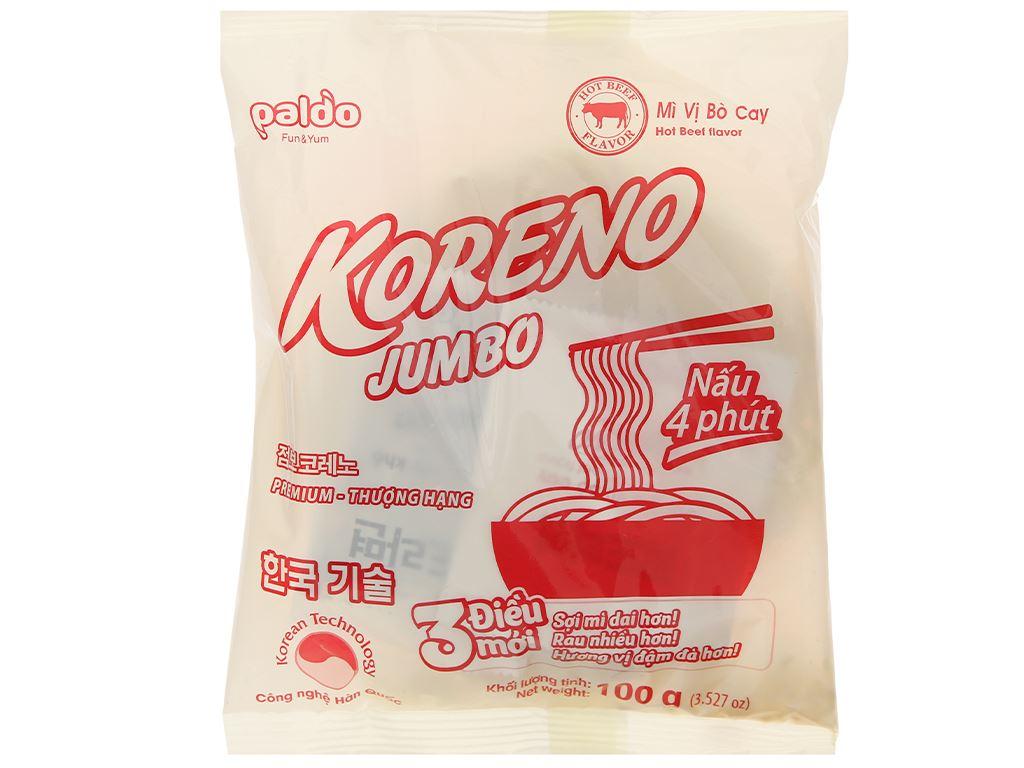 Túi 10 gói mì Koreno Jumbo vị bò cay 100g 6