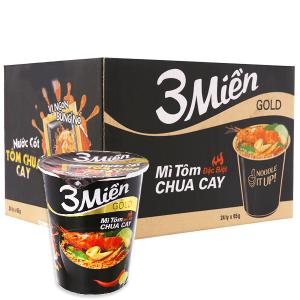 Thùng 24 ly mì 3 Miền Gold tôm chua cay đặc biệt 65g