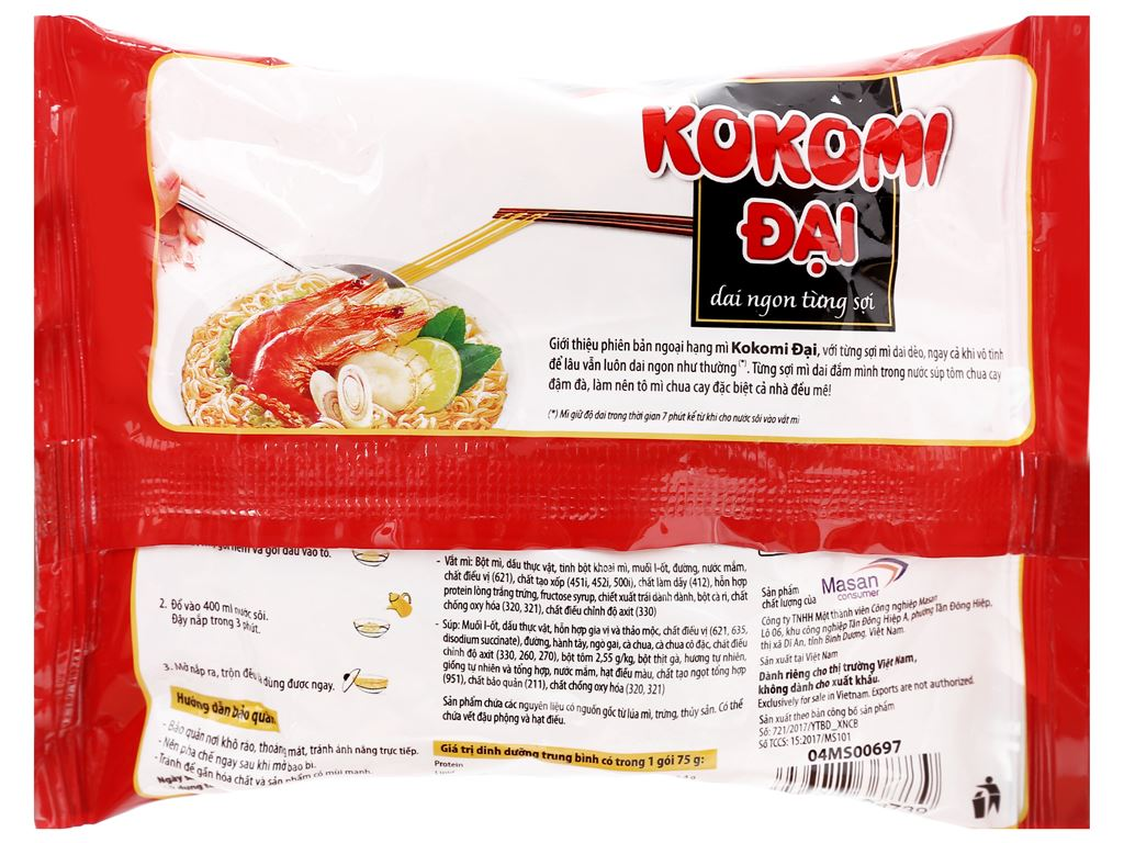 Thùng 30 gói mì Kokomi Đại tôm chua cay 75g 8