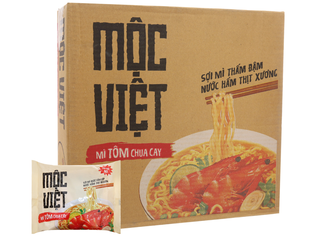 Thùng 30 gói Mì Mộc Việt tôm chua cay 75g 2