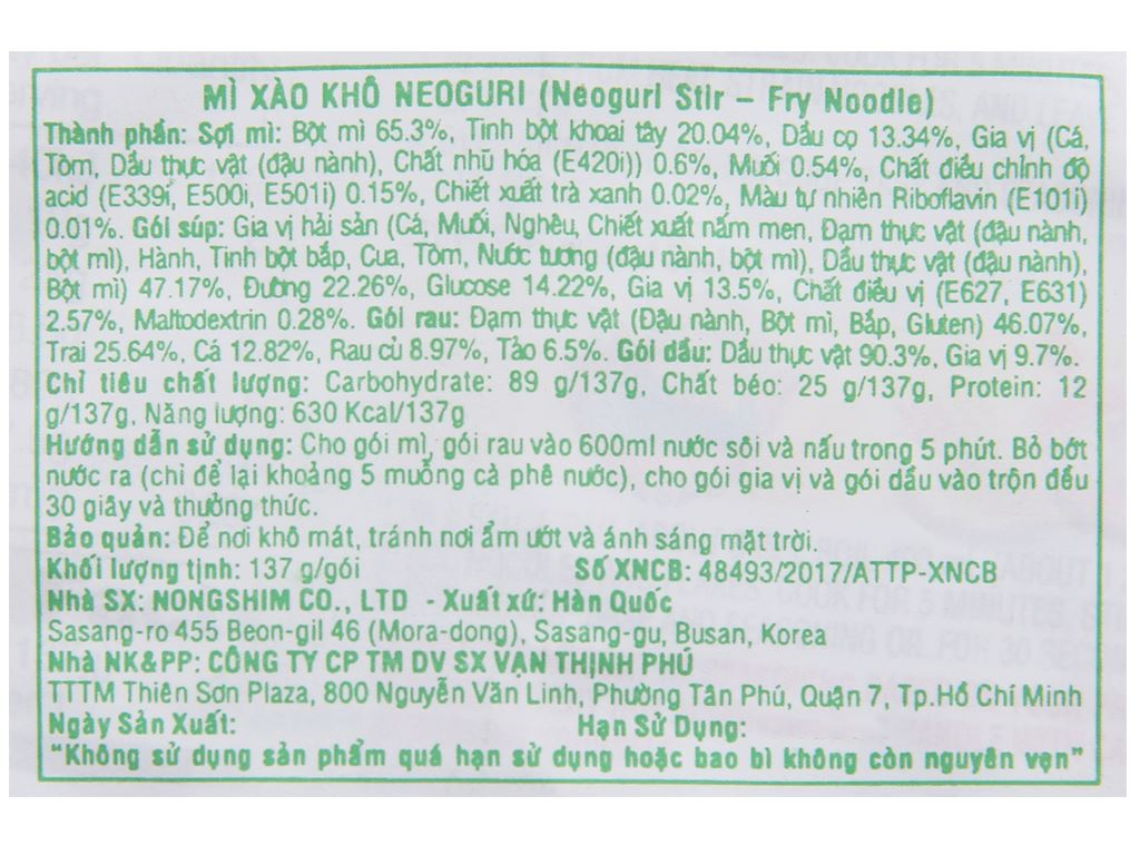 Thùng 32 gói mì xào khô Nongshim Neoguri hải sản cay 137g 6