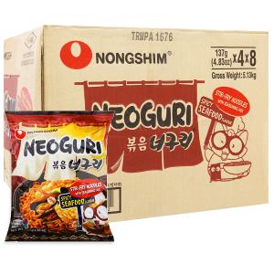 Thùng 32 gói mì xào khô Nongshim Neoguri hải sản cay 137g