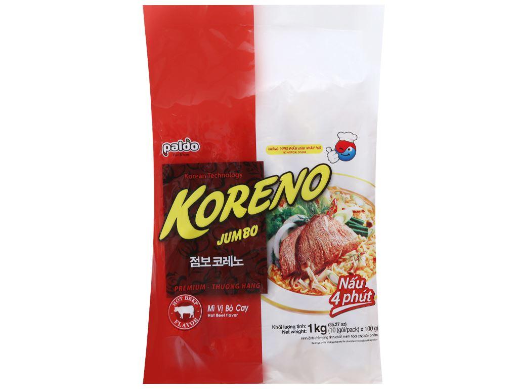 Thùng 10 túi mì Koreno Jumbo vị bò cay 1kg 3