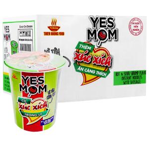 Thùng 24 ly mì Yes Mom tôm chua cay xúc xích 76g (có xúc xích thật)
