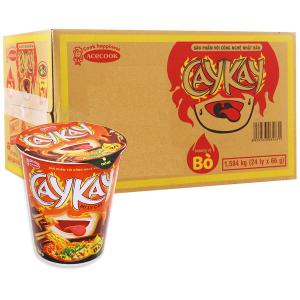 Thùng 24 ly mì Caykay hương vị bò 66g