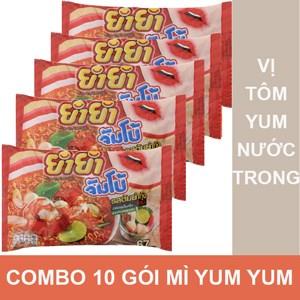 Combo 10 gói mì YumYum vị Tôm Yum Kung Nước trong gói 67g