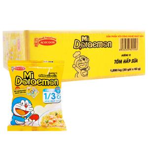 Thùng 30 gói mì Doraemon hương vị tôm hấp sữa 63g