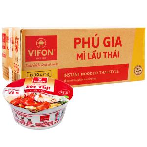 Thùng 12 tô mì Phú Gia vị lẩu Thái 75g (có gói sốt lẩu Thái)