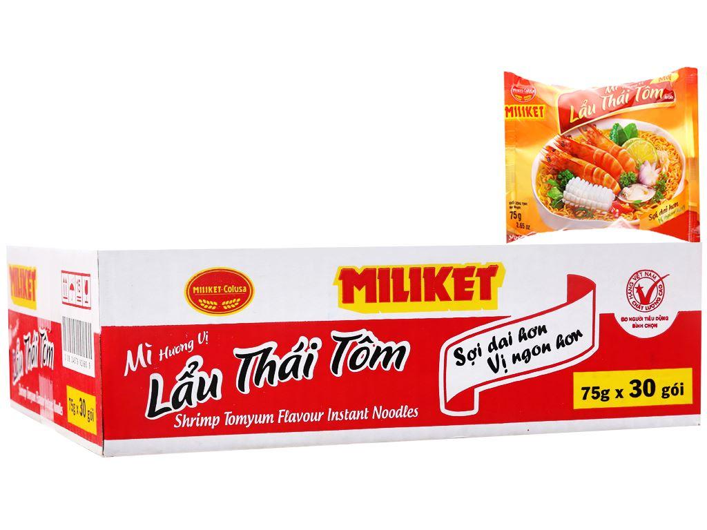Thùng 30 gói mì lấu Thái tôm Miliket 75g 1