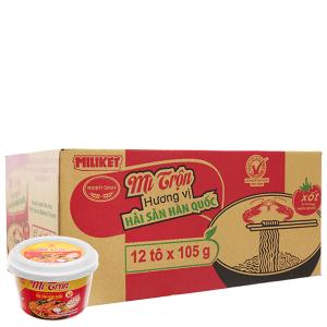 Thùng 12 tô mì trộn Miliket hải sản Hàn Quốc 105g