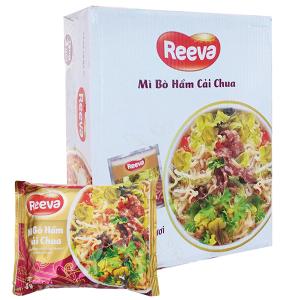 Thùng 30 gói Mì Reeva bò hầm cải chua 85g