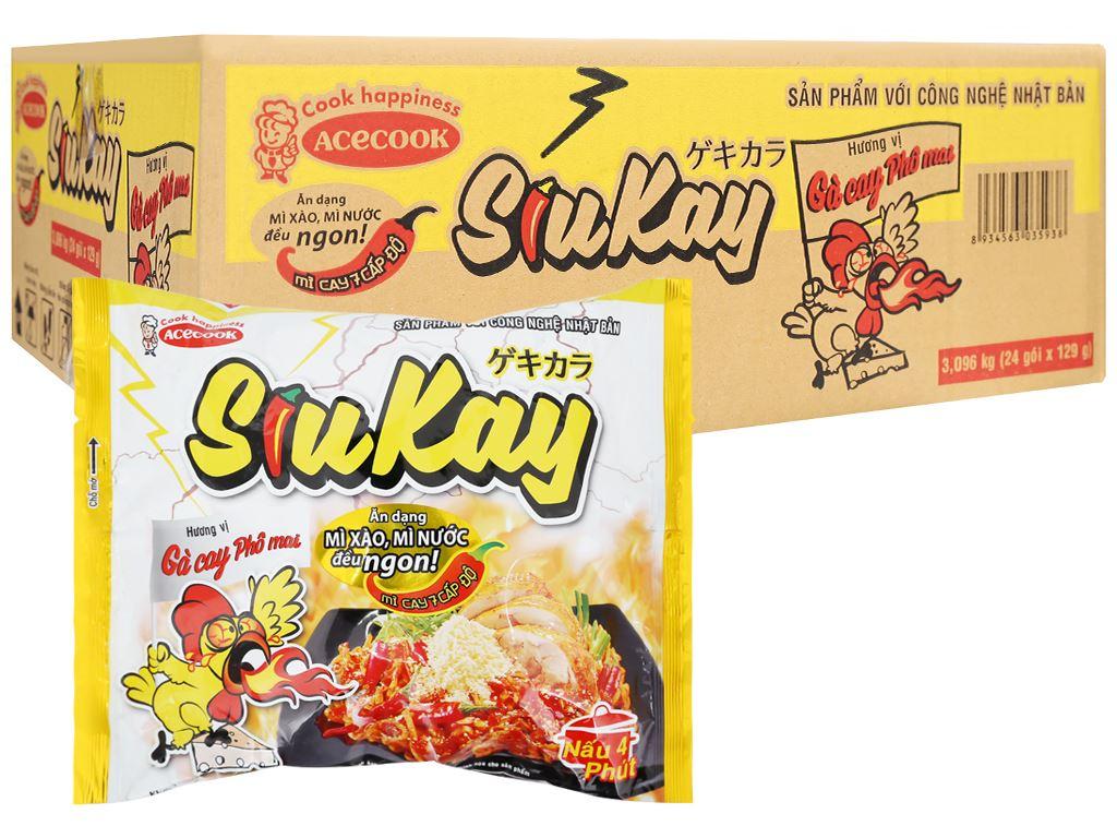 Thùng 24 gói mì SiuKay gà cay phô mai 129g 1