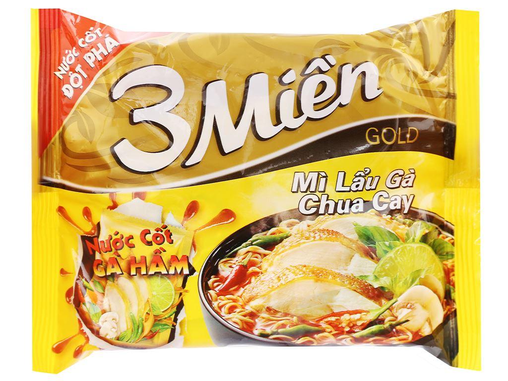 Mì 3 Miền Gold lẩu gà chua cay gói 75g (có gói nước cốt gà hầm) 1