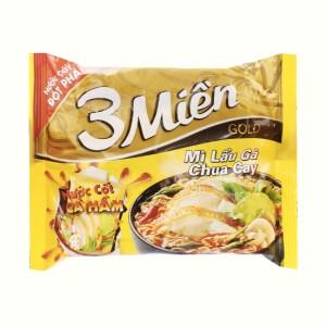 Mì 3 Miền Gold lẩu gà chua cay gói 75g (có gói nước cốt gà hầm)