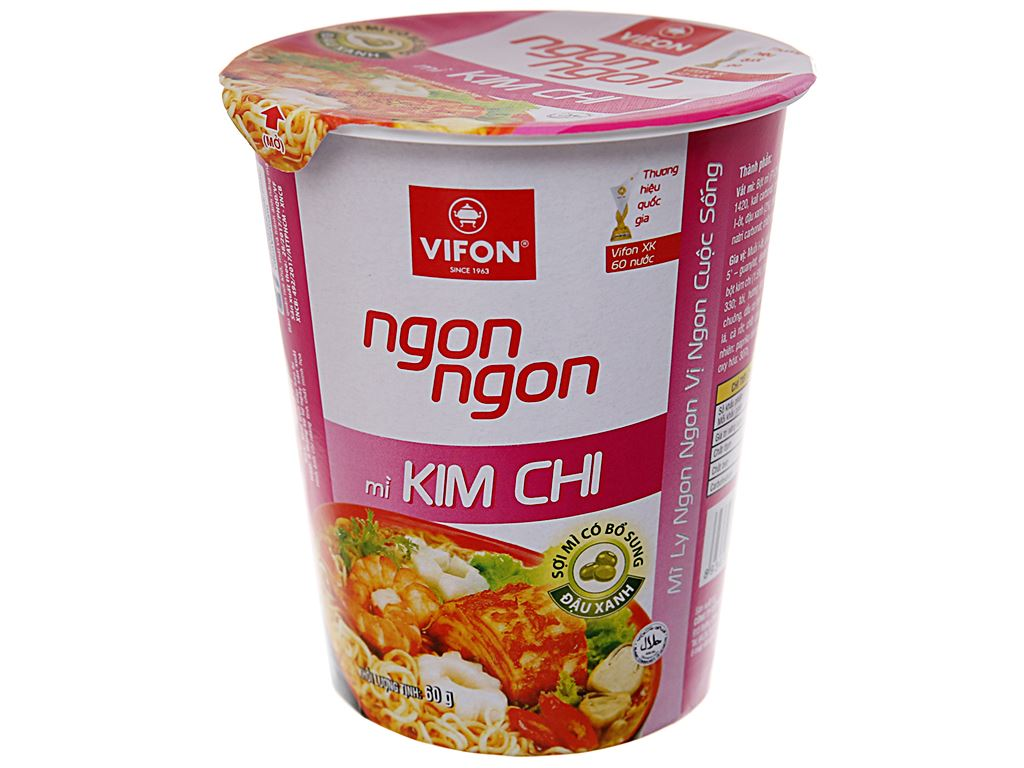 Mì Vifon Ngon Ngon kim chi ly 60g 2