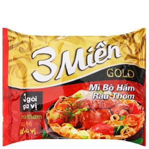 Mì 3 Miền Gold bò hầm rau thơm gói 75g