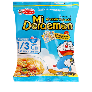 Mì Doraemon hương vị bò cuộn phô mai gói 62g