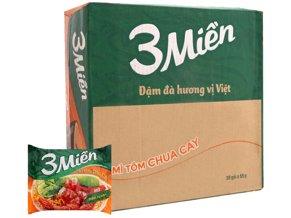 Thùng 30 gói Mì 3 Miền tôm chua cay 65g 2