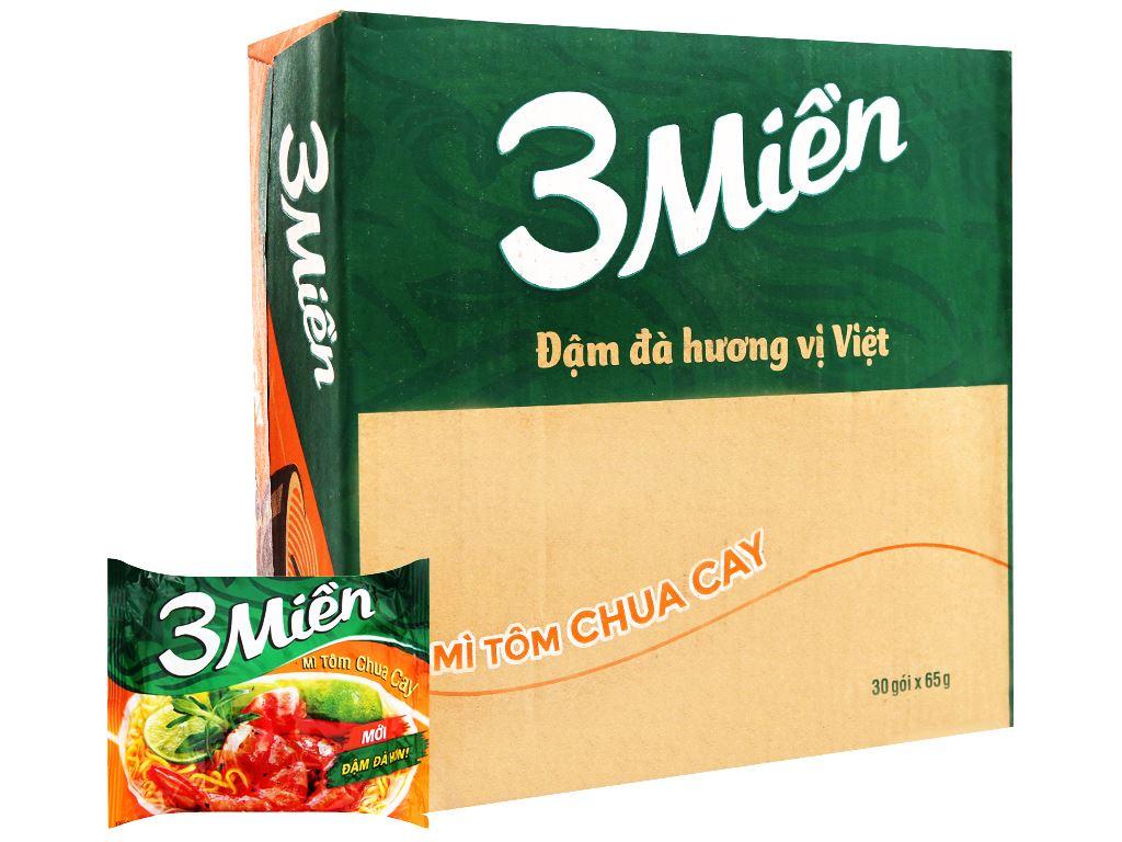 Thùng 30 gói mì 3 Miền tôm chua cay 65g 1