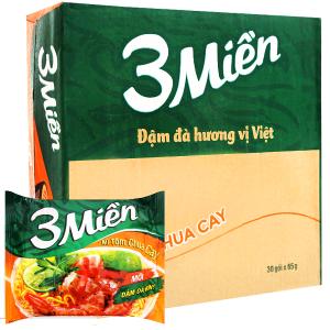 Thùng 30 gói mì 3 Miền tôm chua cay 65g