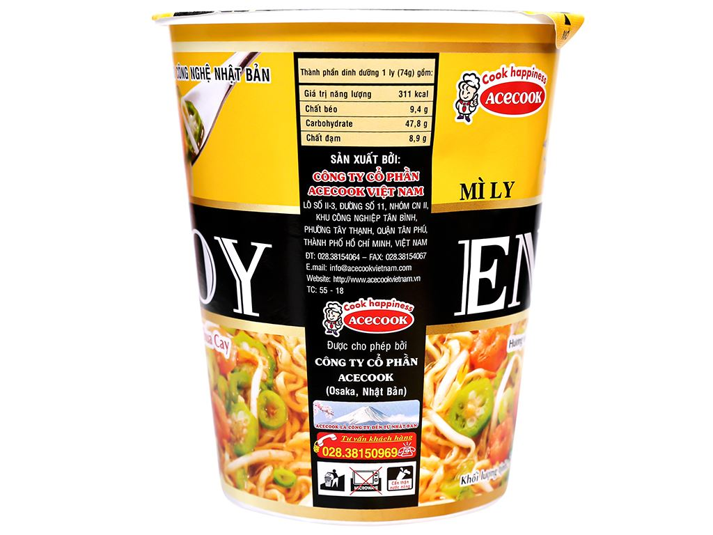 Mì Enjoy lẩu tôm chua cay ly 74g 7