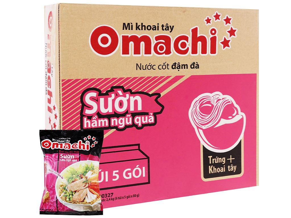 Thùng 30 gói mì khoai tây Omachi sườn hầm ngũ quả 80g 1
