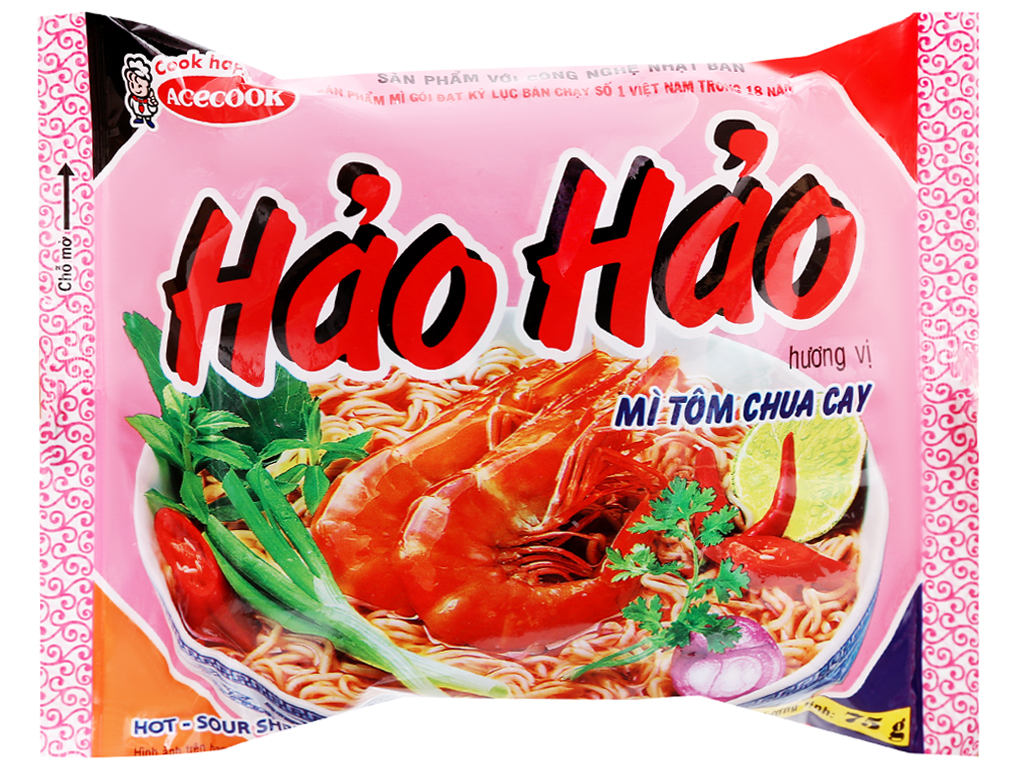 Thùng 30 gói mì Hảo Hảo hương vị tôm chua cay 75g 6