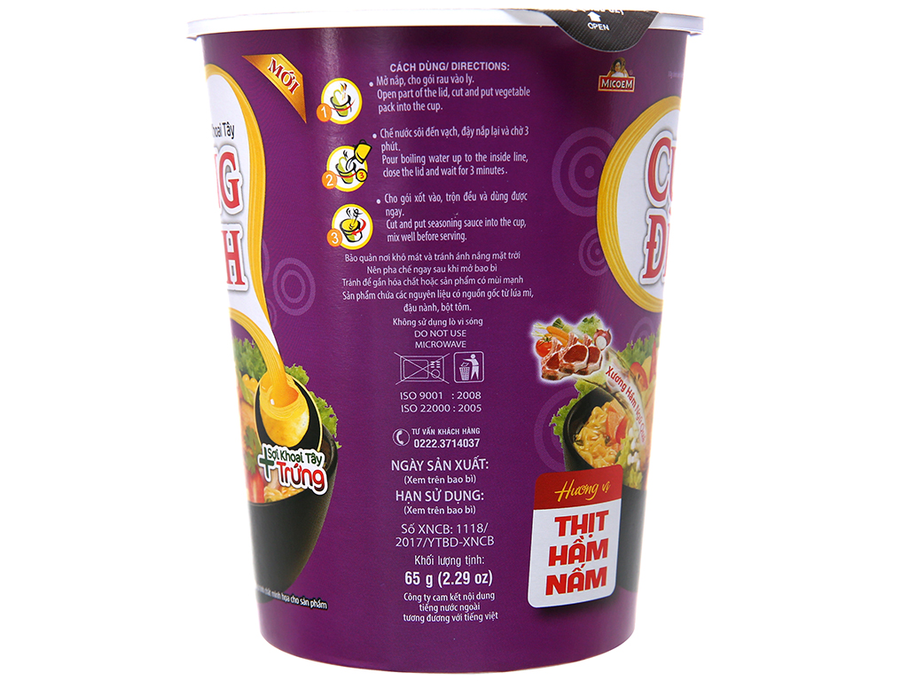 Thùng 24 ly mì khoai tây Cung Đình thịt hầm nấm 65g 5