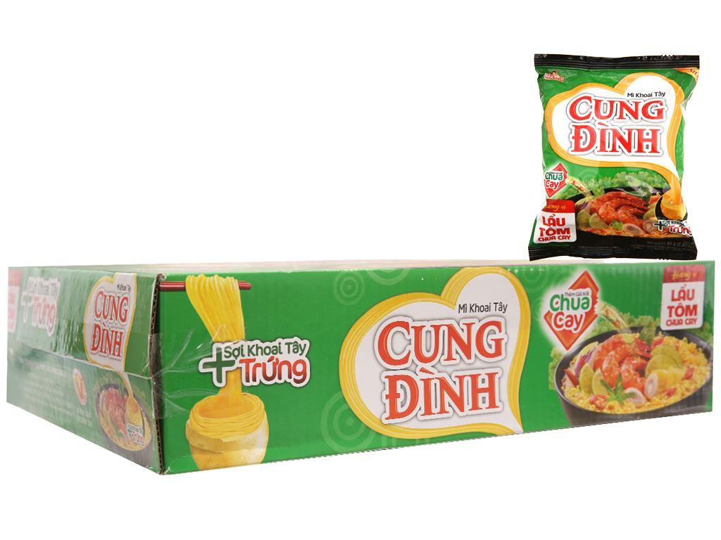 Thùng 30 gói Mì khoai tây Cung Đình lẩu tôm chua cay 80g 3