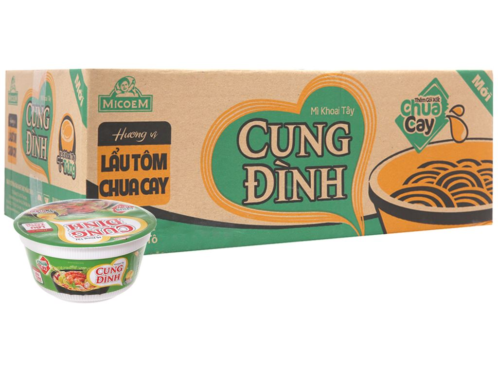 Thùng 12 tô mì khoai tây Cung Đình lẩu tôm chua cay 80g 2