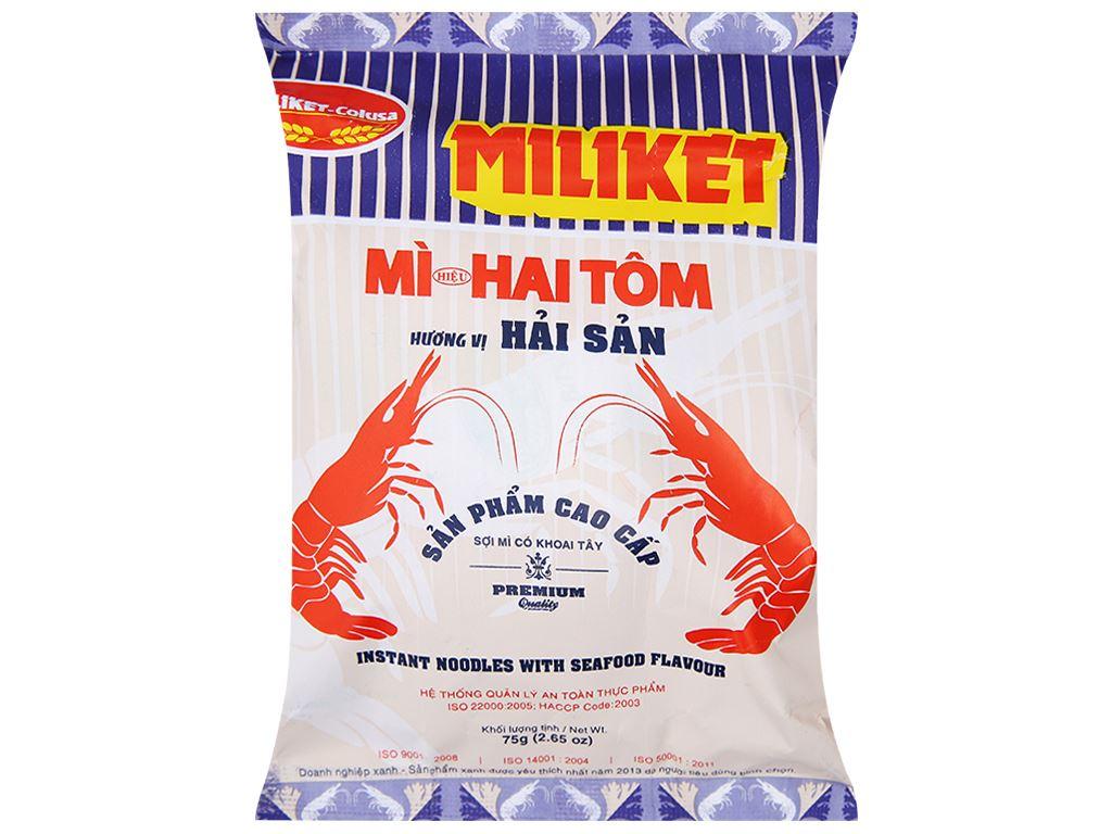 Thùng 30 gói Mì Miliket Hai Tôm Cao cấp hải sản gói 75g 4