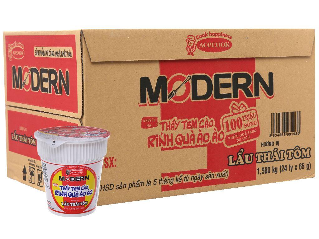 Thùng 24 ly mì Modern lẩu Thái tôm 65g 2