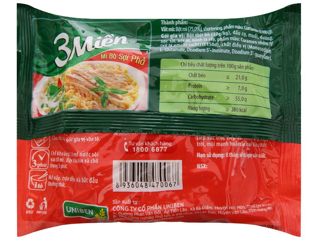 Thùng 30 gói mì bò sợi phở 3 Miền 65g 3