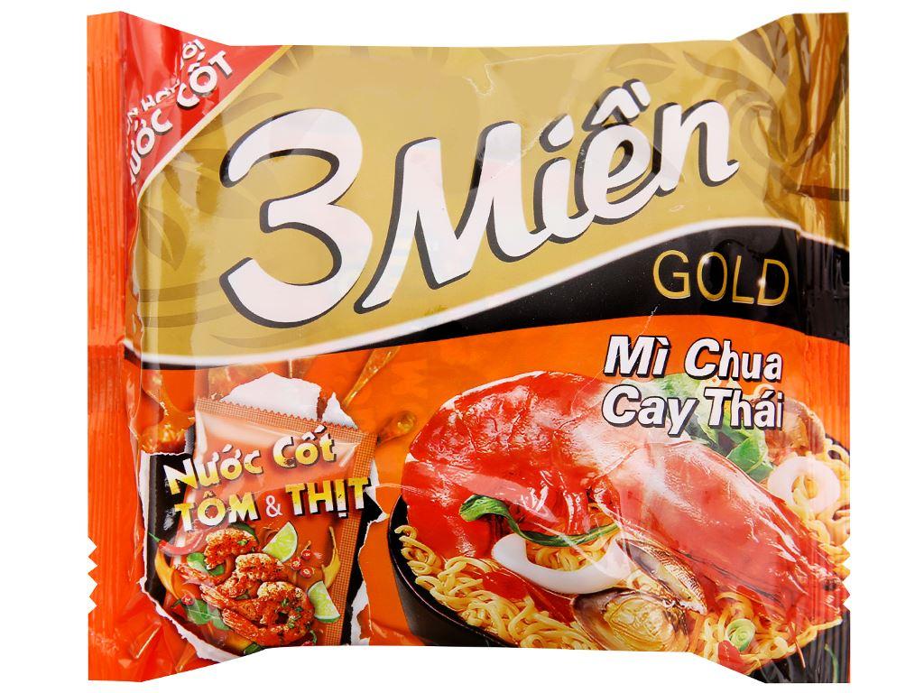 Thùng 30 gói mì 3 Miền Gold chua cay Thái 75g 2