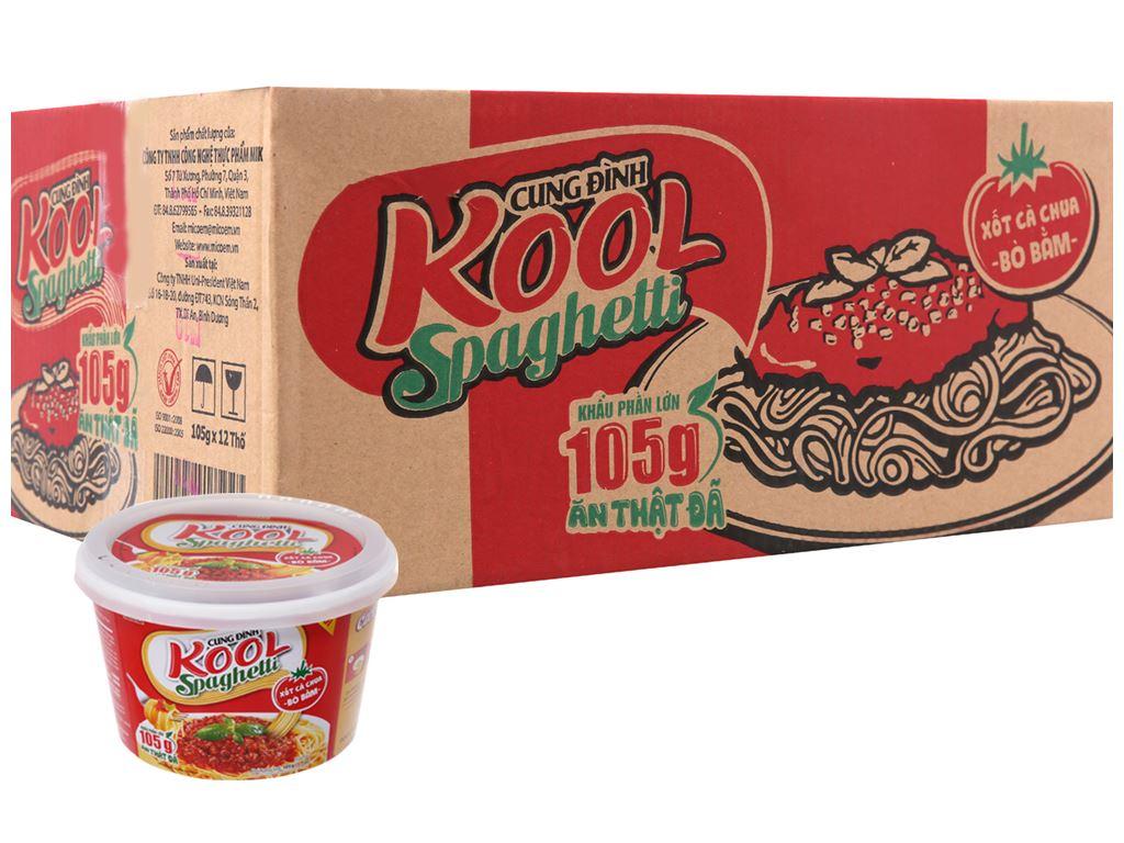 Thùng 12 tô mì Cung Đình Kool xốt Spaghetti thịt bò bằm 105g 2