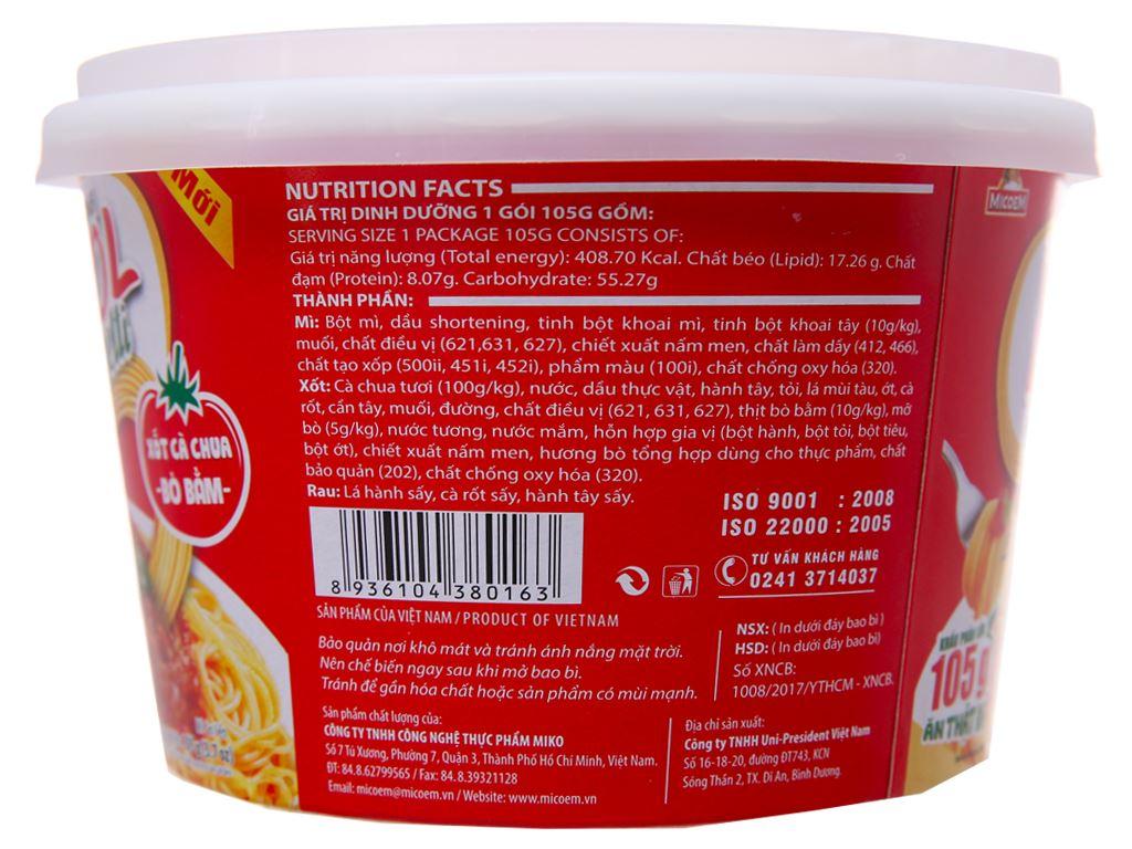 Thùng 12 tô mì Cung Đình Kool xốt Spaghetti thịt bò bằm 105g 4