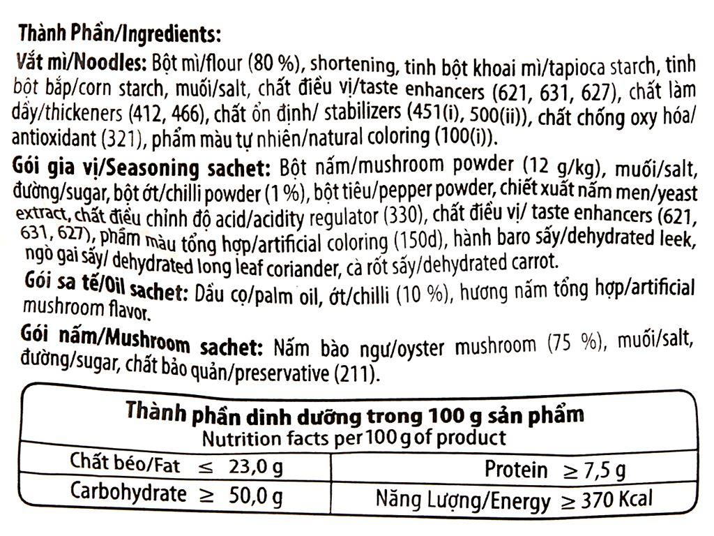 Mì Reeva lẩu nấm chua cay gói 85g 11