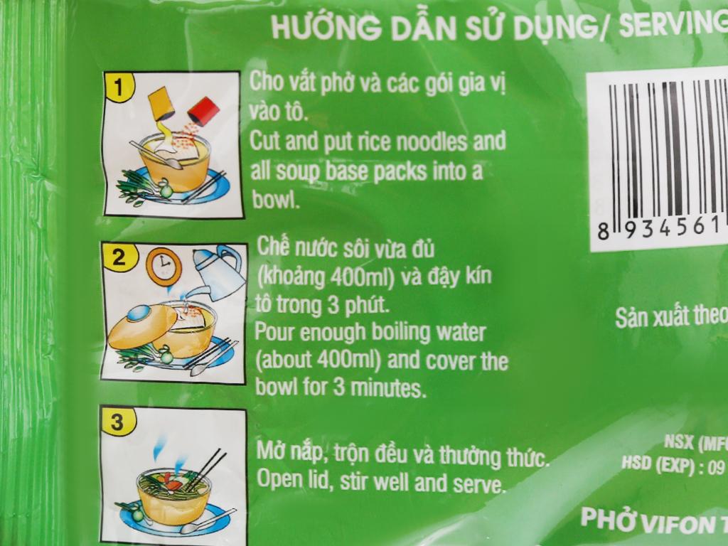 Phở chay rau nấm Vifon gói 65g 9
