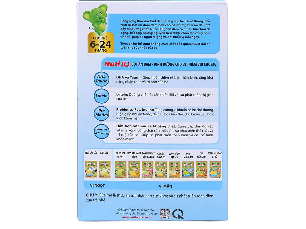 Bột ăn dặm NutiFood Nuti IQ ếch mùng tơi hộp 200g (6 - 24 tháng) 2