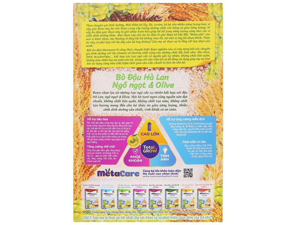 Bột ăn dặm Nutricare MetaCare bò đậu hà lan ngô ngọt & olive hộp 200g (7 - 24 tháng) 2