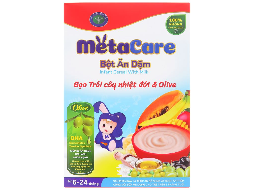 Bột ăn dặm Nutricare MetaCare gạo trái cây nhiệt đới & olive hộp 200g (6 - 24 tháng) 1