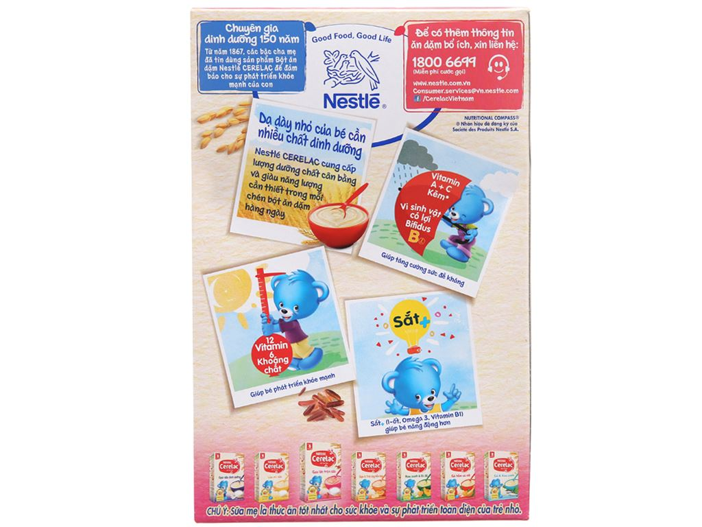 Bột ăn dặm Nestlé Cerelac gạo lức trộn sữa từ 6 tháng 200g 3