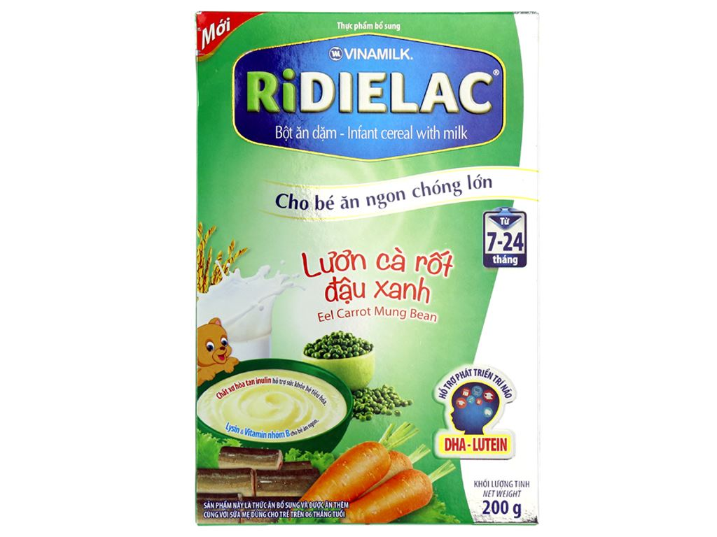 Bột ăn dặm Ridielac Lươn cà rốt đậu xanh 7 - 24 tháng 200g 1